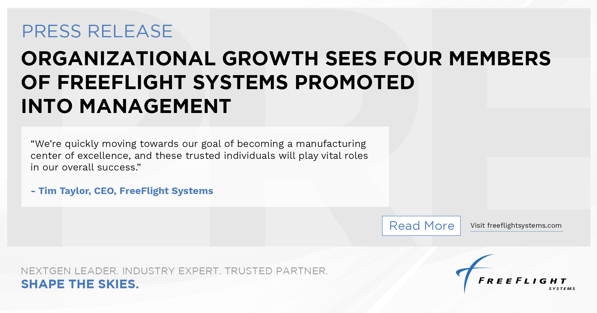 Organizational Growth Sees Four Members of FreeFlight Systems Promoted into Management