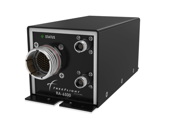 Side angle view of the RA-6500 Radar Altimeter designed for transport rotorcraft and business jets.
