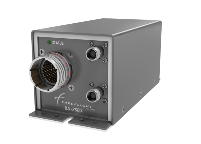 Side angle view of the RA-7500 Radar Altimeter designed for military and government